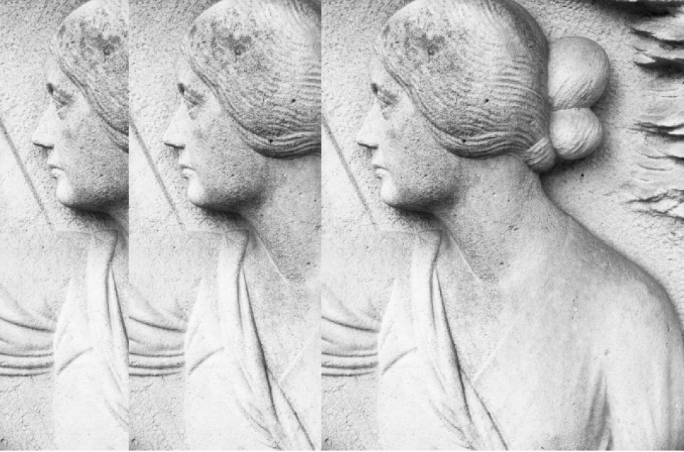 Bas-relief figurant Madeleine Smith-Champion