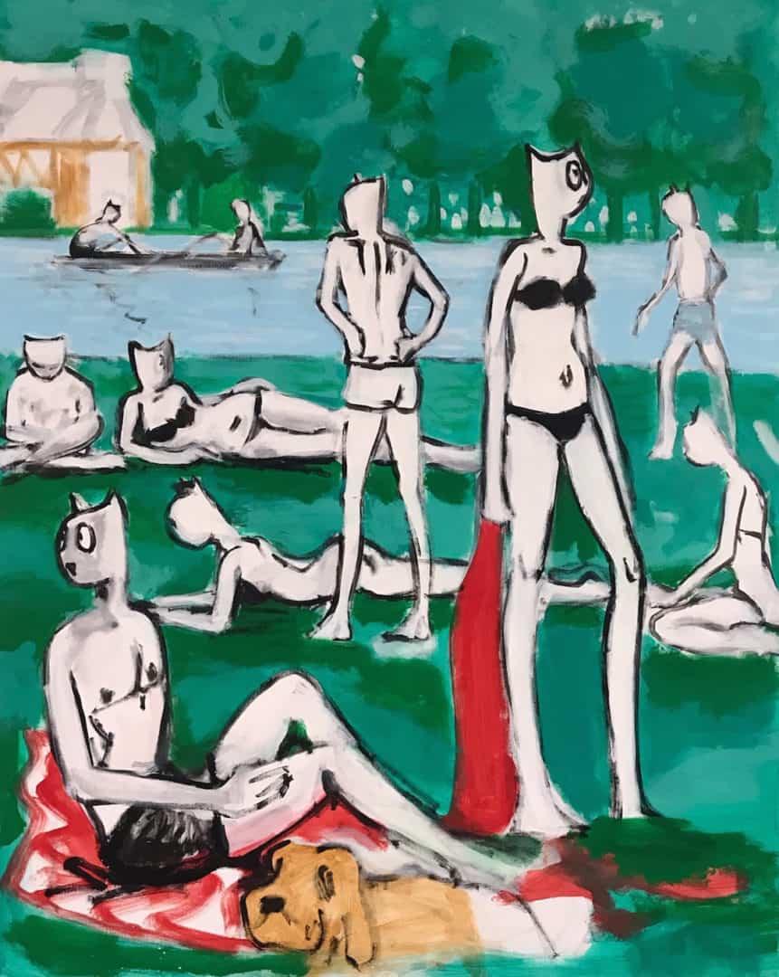 Alain Séchas, Bords de Marne, 2019 Huile sur toile 162 x 130 cm Courtesy de l'artiste et de la Galerie Laurent Godin